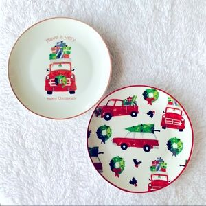 "Set of Christmas red truck 8"" round holiday plates"